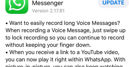 WhatsApp Update for iOS Device: Lets you stream YouTube Videos without Leaving the App