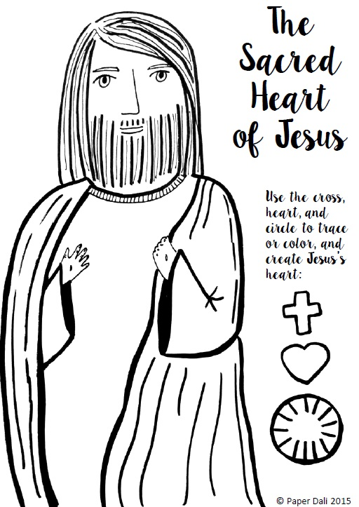 Paper Dali: Free Sacred Heart of Jesus Coloring Page and