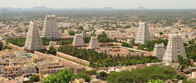 The Arunachaleshwar Temple in Tamil Nadu, India, has four gopurams i.e. entrance towers, in the cardinal directions.