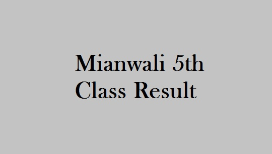 Mianwali 5th Class Result 2019 - BISE PEC Mianwali Board 5th Results