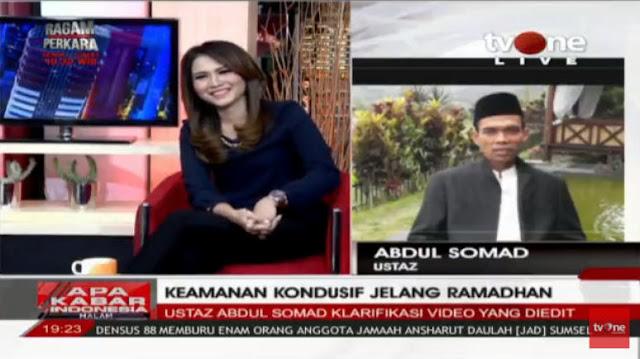 Di tvOne, Ustadz Somad: Mereka yang Potong Video Saya ini Teroris, Penyebar Hoax, Tangkap Mereka!