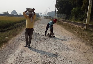People are happy when the construction of poor connectivity road starts.