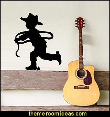 LIL COWBOY SILHOUETTE ~ WALL DECAL  cowboy theme bedrooms - rustic western style decorating ideas - rustic decor - cowboy decor - Cowboy Bedding Western bedroom decor - horse decor - cowboy wall murals horse wall murals