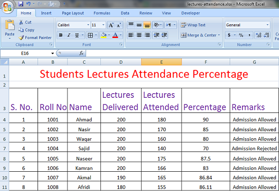 Calculate Percentage of Lectures Attended by Students using Excel Worksheet