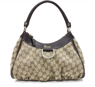 Gucci BeigeEbony Signature GG Canvas Hobo Bag