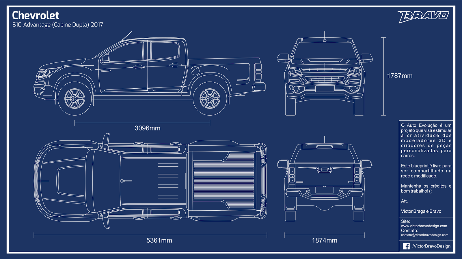 Imagem mostrando o blueprint do Chevrolet S10 Advantage (Cabine Dupla) 2017