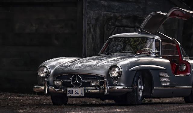 vecchia auto, foto in bianco e nero, mercedes