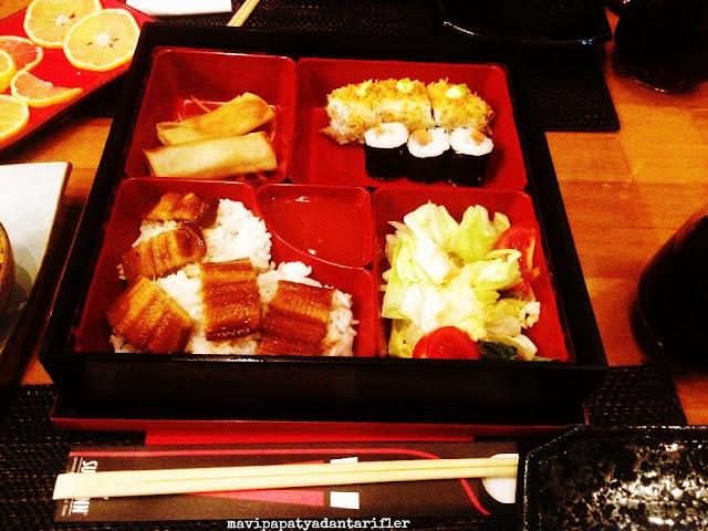 bento box, samurai roll, sake maki, teriyaki soslu anago, cin boregi