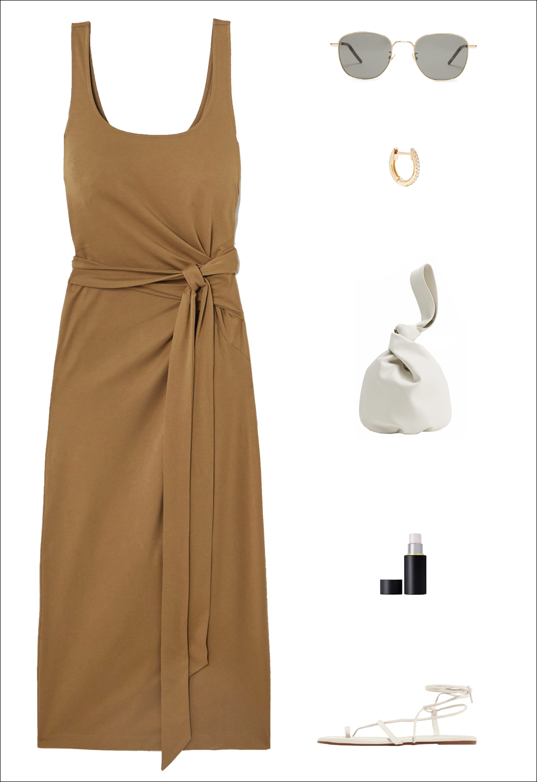 Stylish Summer Outfit Idea — sleeveless midi wrap dress, metal round sunglasses, diamond hoop earring, white mini bag, and white flat ankle-wrap lace-up sandals.