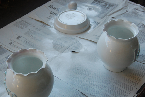 glass bowls painted with white krylon paint