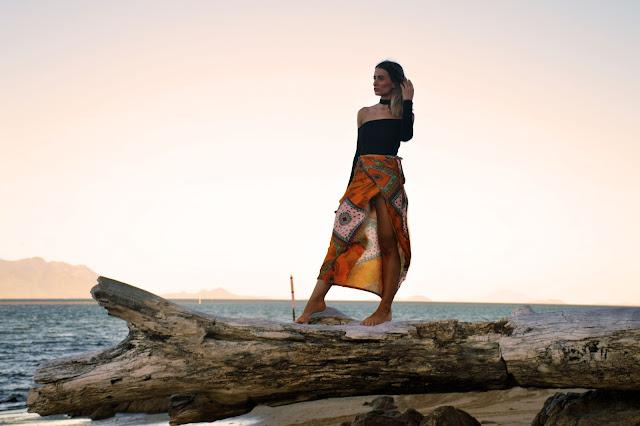 boho scarf print skirt