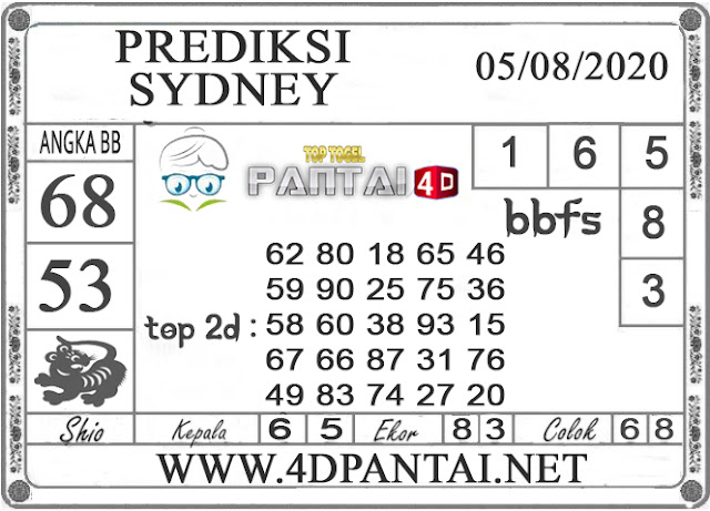 PREDIKSI TOGEL SYDNEY PANTAI4D 05 AGUSTUS 2020
