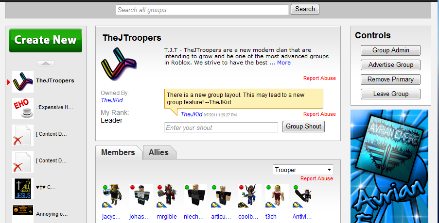 Thejkid S Roblox Updates New Group Layout