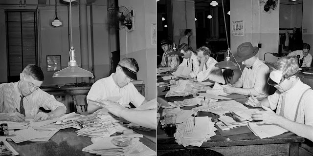 (Left) Copyreaders at the foreign desk in the newsroom. In the foreground, the foreign editor discards a story by