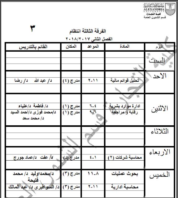 جدول محاضرات كلية التجارة بجامعة الإسكندرية 2018