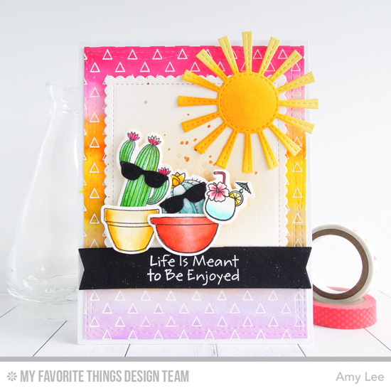 Handmade card from Amy Lee featuring Birdie Brown Penguins in Paradise and Laina Lamb Design Sweet Succulents stamp sets and Die-namics, Transparent Triangle Background stamp, Sunny Skies, Stitched Mini Scallop Square STAX, Wonky Stitched Rectangle STAX, Pure Innocence Fun in the Sun, and Blueprints 27 Die-namics #mftstamps