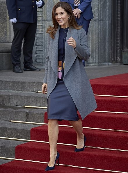 Crown-Princess Mary wore Massimo Dutti coat,and Roksanda Jaco paneled jacquard blouse. Mads Z Jewellery gold ring and earrings
