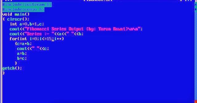 C Programming Print Fibonacci Series 0 1 1 2 3 5 8