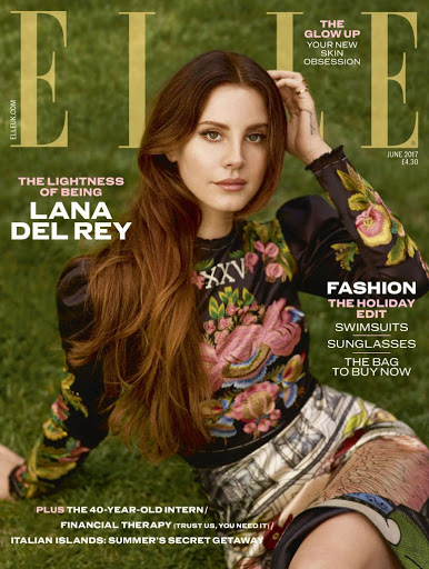 Lana Del Rey glamour model photoshoot for ELLE Magazine UK June 2017 cover issue