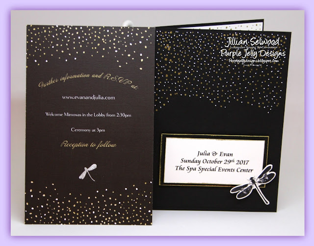 Black, White and Gold Wedding invitation and matching personalised card