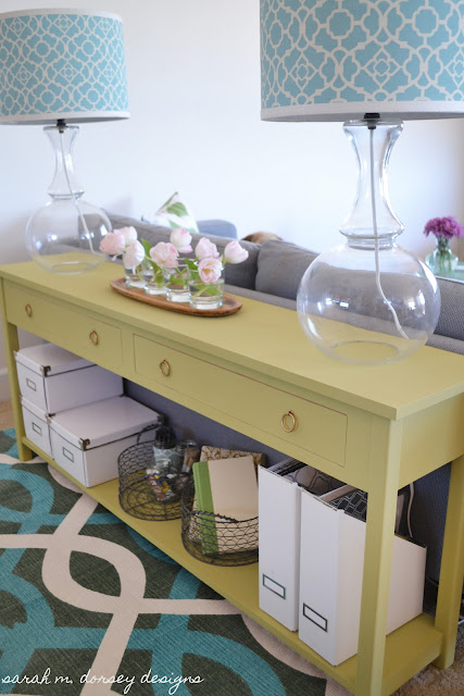 sarah m dorsey designs sofa table happiness