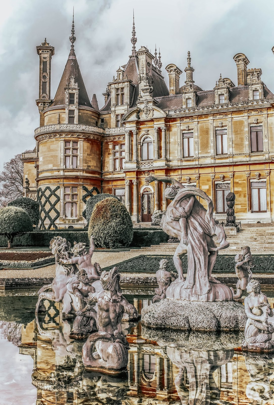 Waddesdon Manor Back of House Fountain