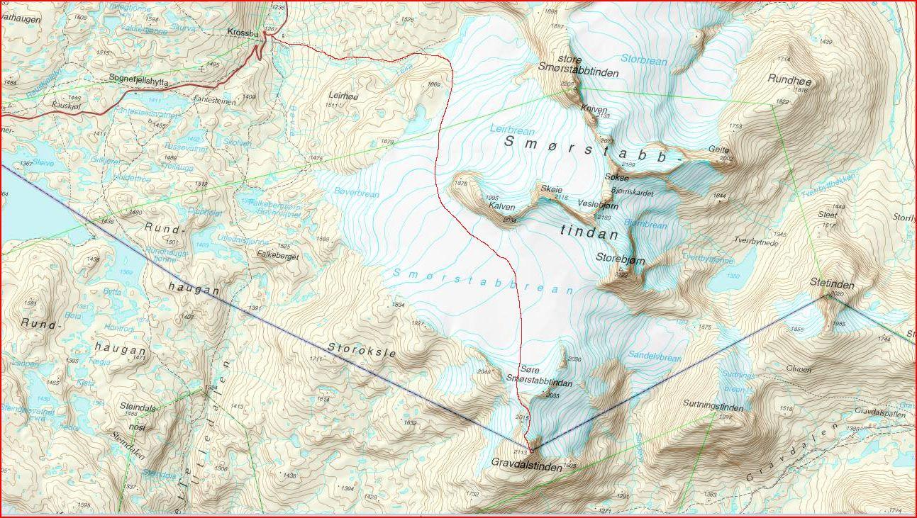 bøverbreen kart Fjellfører Kjell Nyøygard: Gravdalstind 2113 moh. bøverbreen kart