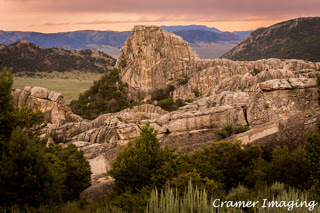 Cramer Imaging's professional quality landscape photograph of a large rock formation at sunset in City of Rocks National Reserve, Idaho