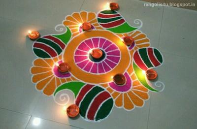 Colorful Deep Jyoti Rangolis