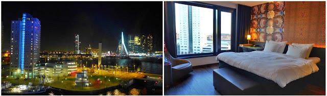 Vistas nocturnas con puente Erasmusbrug y habitación en el hotel Mainport de Rotterdam
