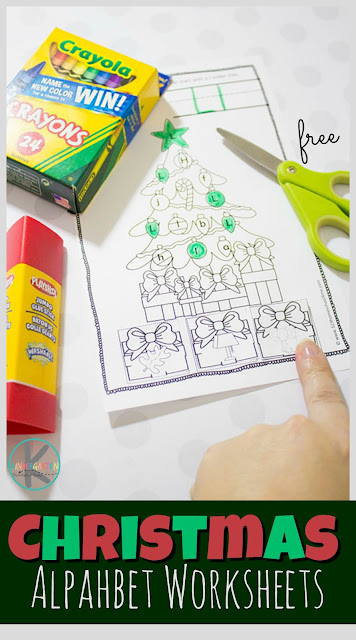 FREE Christmas Alphabet Worksheets - kids will have fun practicing identifying letters and the sounds they make with this free printable cut and paste literacy worksheets for kindergarten and first grade kids. #christmasworksheets #literacy #alphabetworksheets #christmas #phonics #alphabet #kindergarten #worksheetsforkids #freeworksheets #homeschool #kindergartenworksheetsandgames