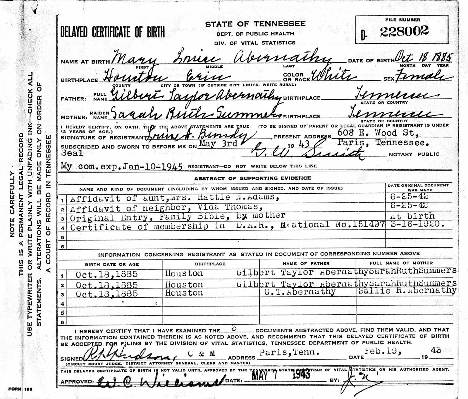Genas genealogy womens history month 2018 delayed birth courtesy of houston county tn archives 1betcityfo Images