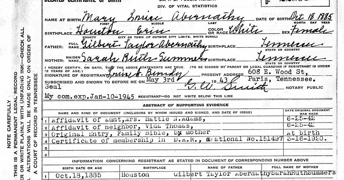 Gena\'s Genealogy: Women\'s History Month 2018: Delayed Birth Certificates