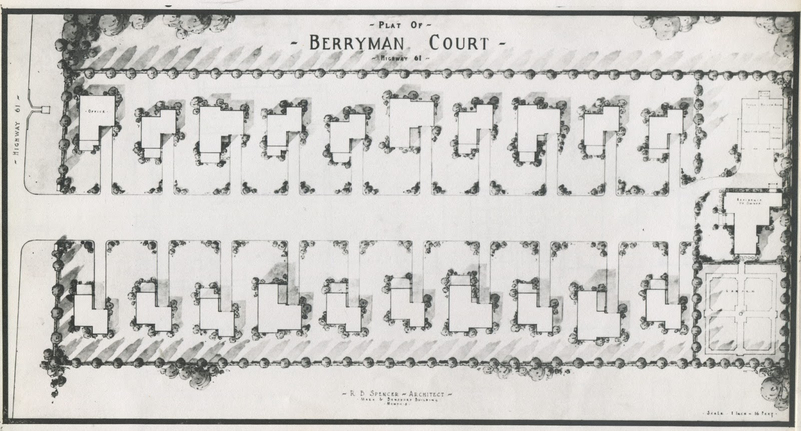 the so called plat for berryman court that was presented to the board of adjustment in 1936 reveals it featured 19 cabins each with its own garage