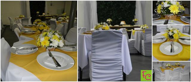 Casamento Amarelo e Branco - Decoração