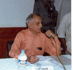 Mr T Kannan, formerly Joint Director News of All India Radio and State owned Television channel Doordarshan anchoring the panel discussion