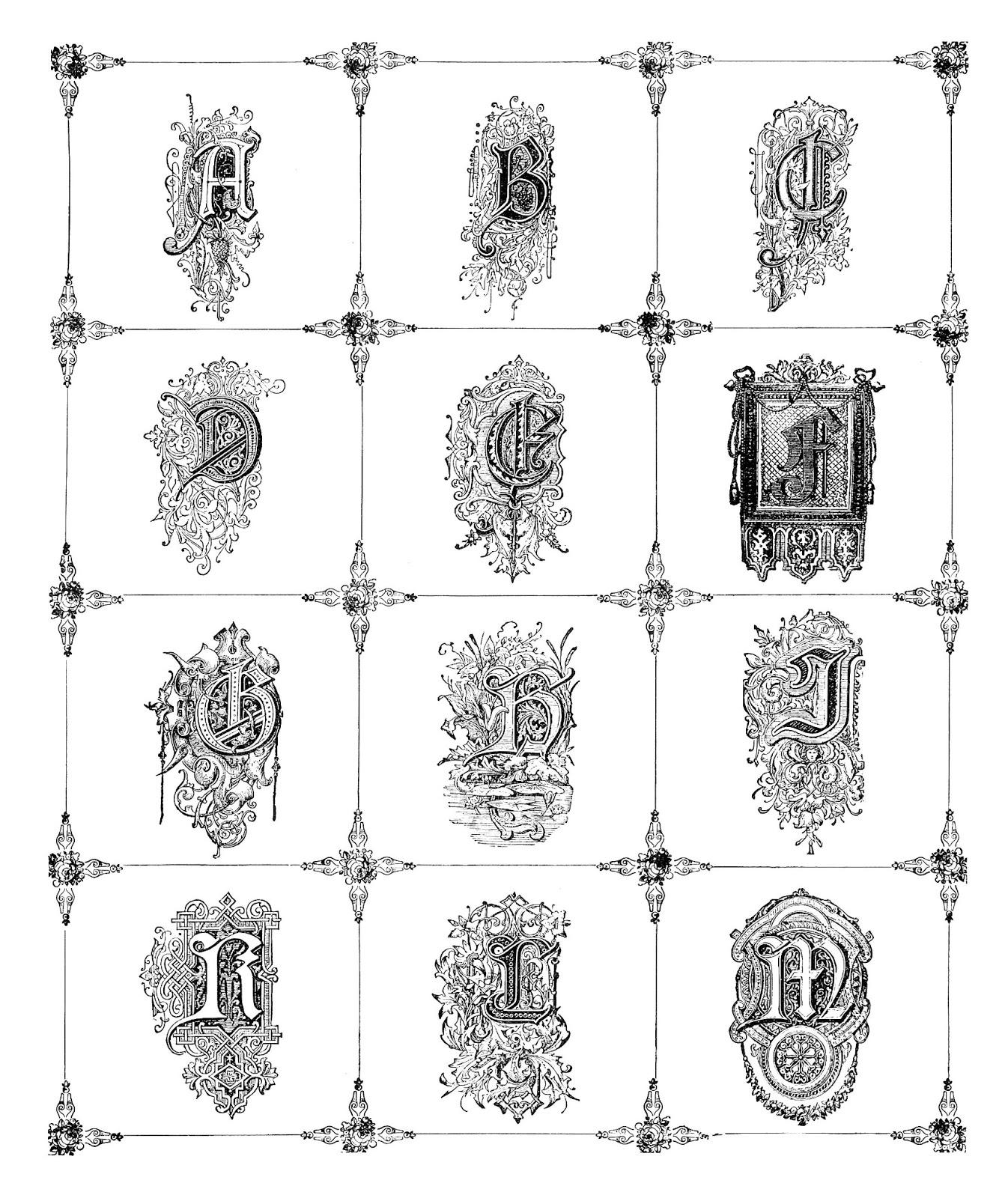 Digital Stamp Design: Alphabet Digital Stamps: Antique