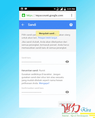 cara mengganti password akun google wd-kira