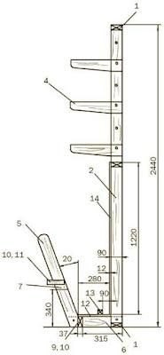 Схема стеллажа для досок