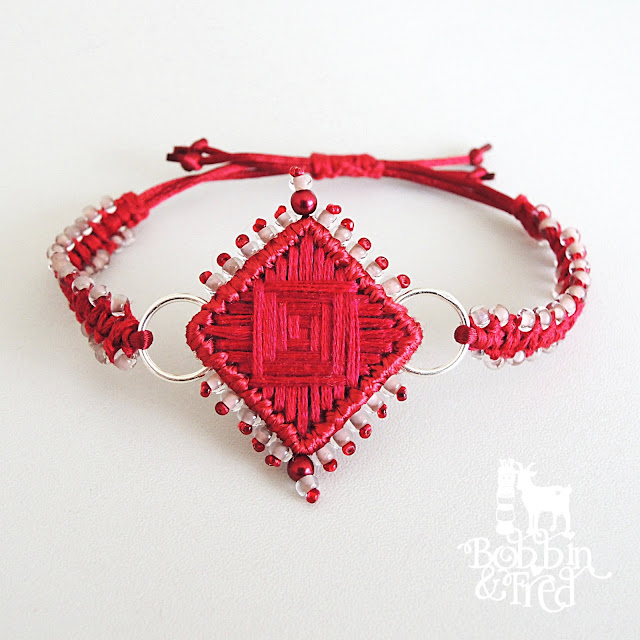 Red embroidered bracelet by Sewing with Bobbin and Fred