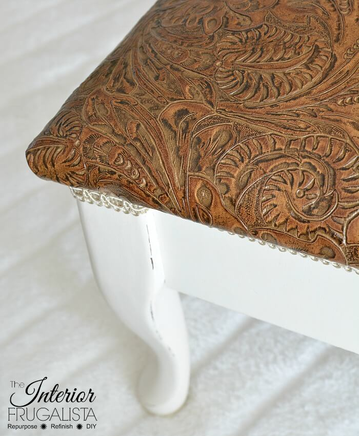 Embossed Leather Footstool Top After