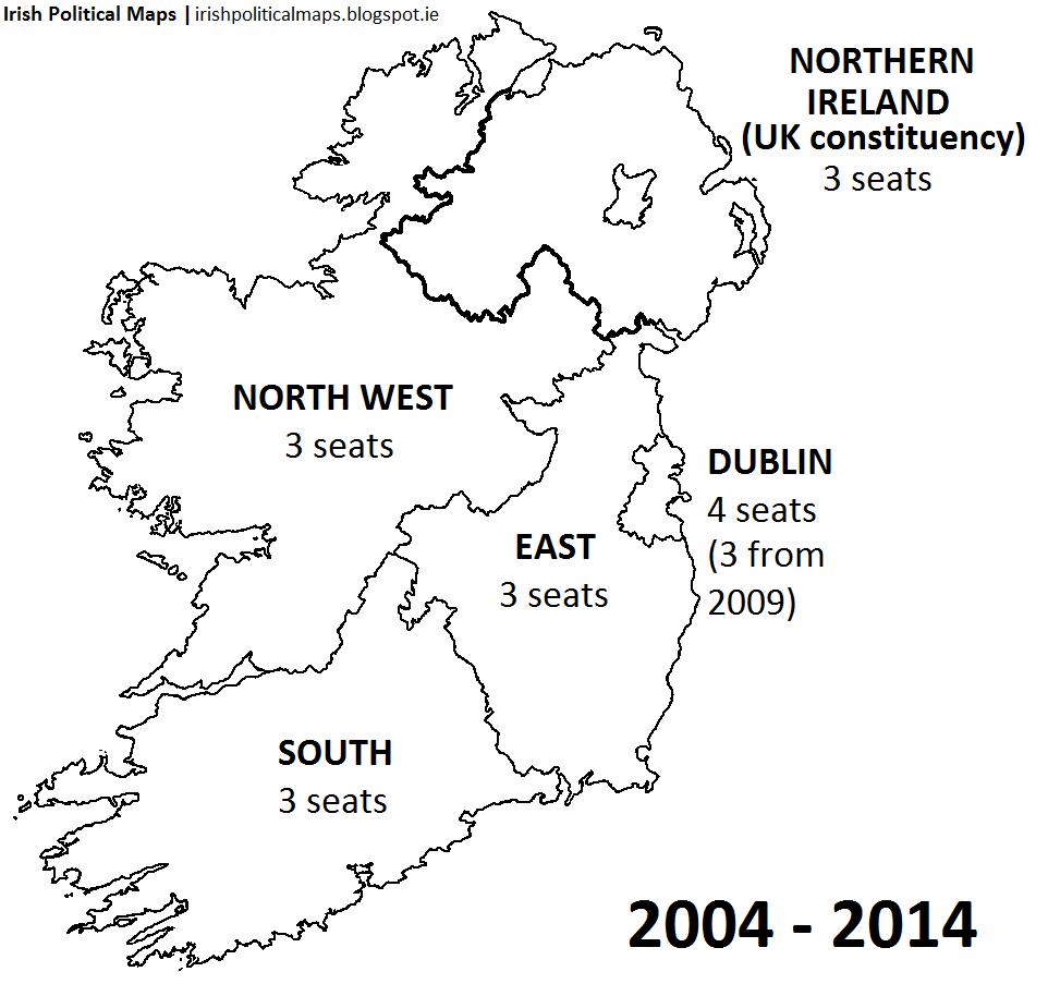 Map Of South East Ireland.Irish Political Maps European Parliament Constituencies In Ireland