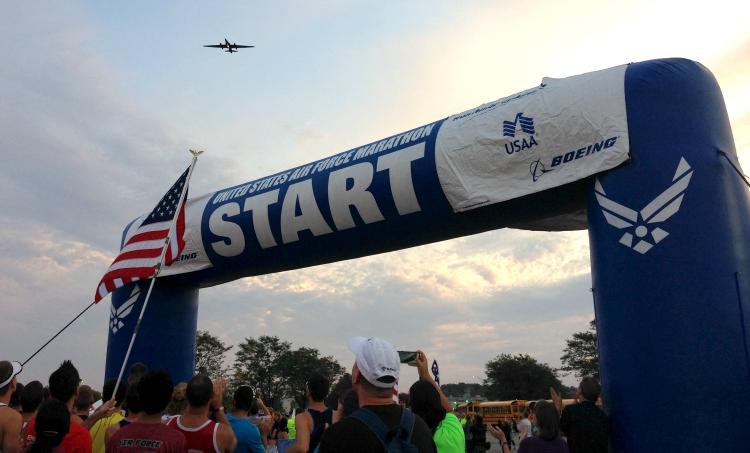 Air Force Half Marathon, MAJCOM Challenge, Air National Guard Runner, Air Force Runner, U2 Flyover for Marathon Start