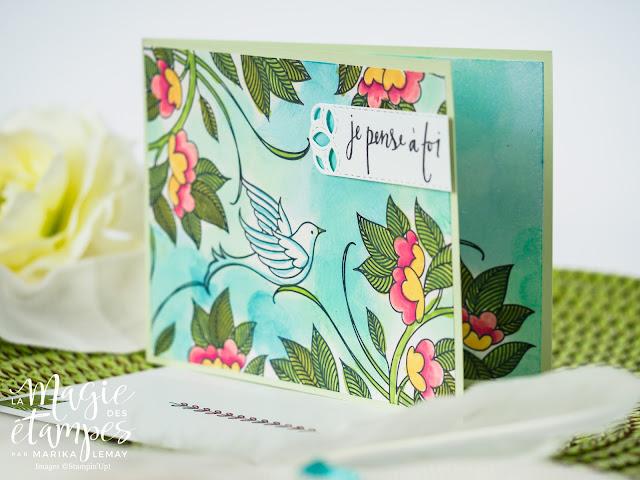 Carte Stampin' Up! créée avec le jeu d'étampes Serene Garden