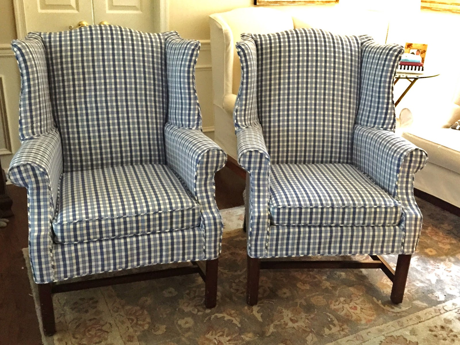 blue wingback chair covers free wood plans pam morris sews checked wing chairs in shades of