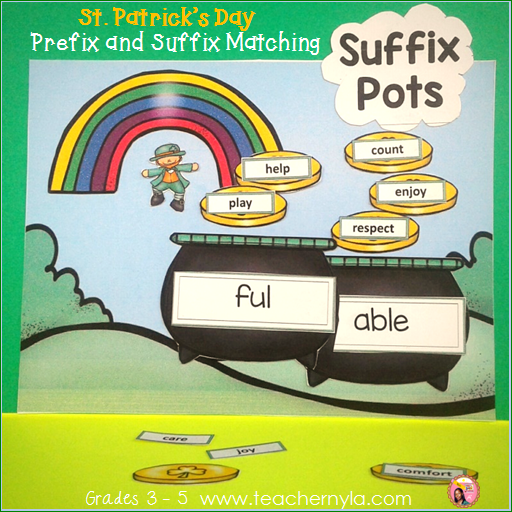 Prefix and Suffix St. Patrick's Day Matching to Root Word Activity