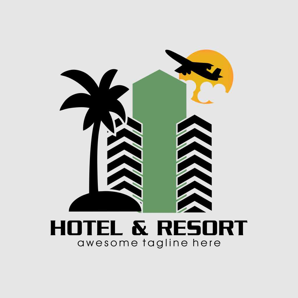 Design Hotel and Resort Logo Template Free Download Vector CDR, AI, EPS and PNG Formats
