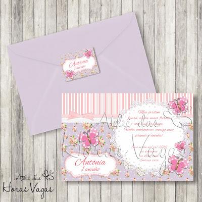 convite aniversário infantil personalizado artesanal jardim encantado borboletas floral rosa lilás bebê 1 aninho menina festa vintage envelope e adesivo tag