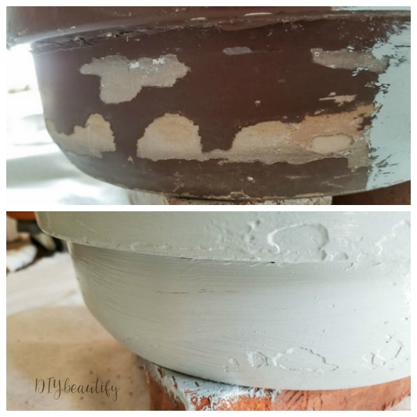 chalk painted pot before and after