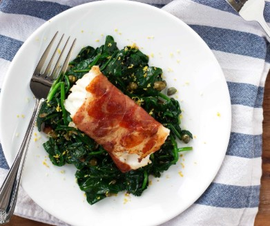 Wrapped Cod With Lemon Spinach